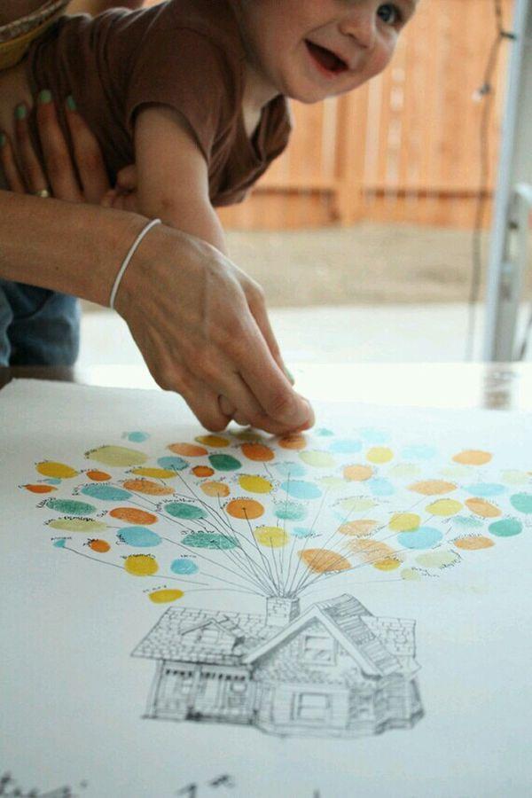 Opening van een nieuw kantoor? Maak je eigen persoonlijke ballonnen op papier en hang deze 'tekening' later als aandenken aan de muur. #DIY #kantoorinrichting