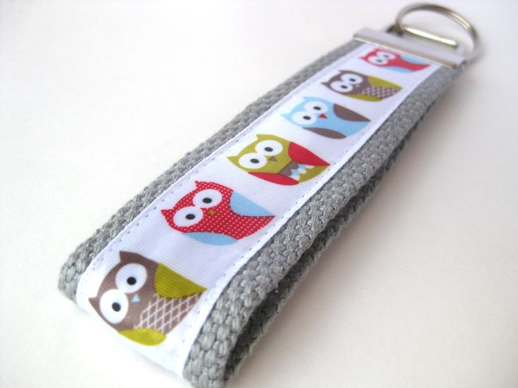 Multi-Color Owls on Grey Webbing Key Fob- Women's Wristlet Key Chain- Christmas Gift Idea for Women