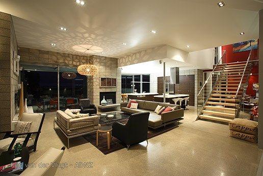 Designer Living designed by Ben Van der Vlugt.  #adnz #stairs #polishedfloor #living