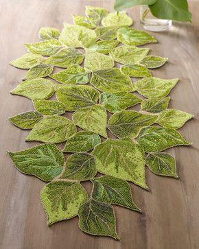 Kim Seybert Beaded Table Runner | Kim Seybert Overlapped Leaves Runner    Traditional   Table Linens