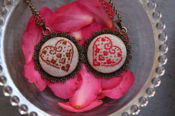 Cross stitch Necklace/Handmade Embroidered by TheStitchOfHappiness