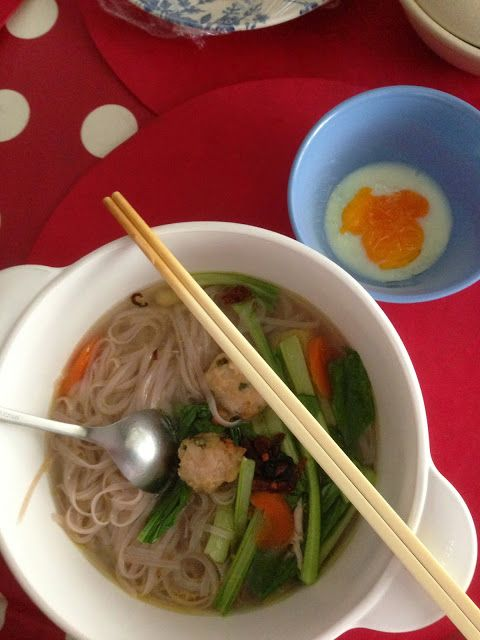 The Right to Be Alive: Chicken Balls Noodle Soup. Contains carrot, good for Salicylate challenge.