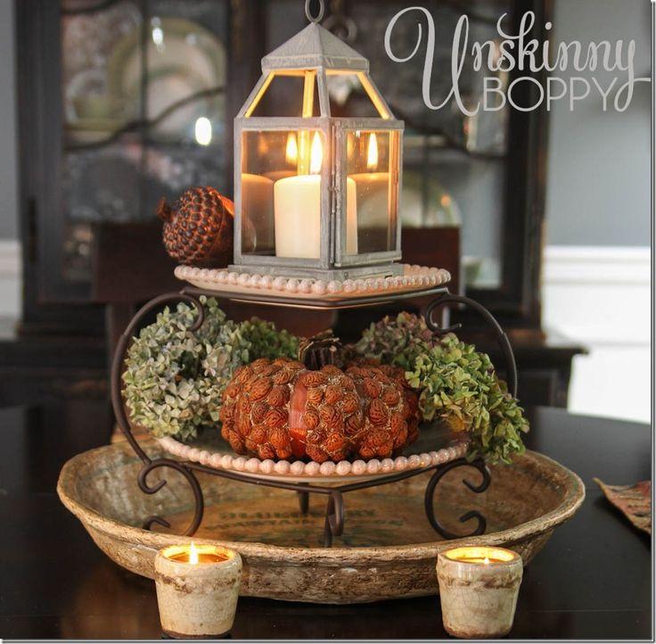 DECOR: FALL: Fall Decor - bowl, plate stand and mini-lantern.