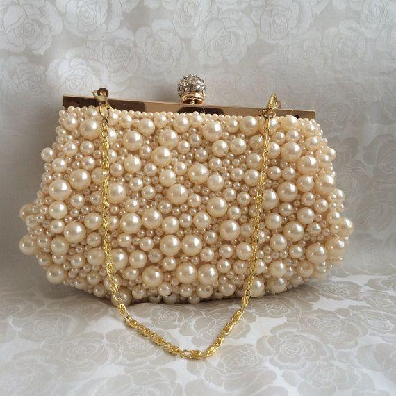 Bridal Clutch, Pearl Wedding Clutch, Pearl Handbag, Bridesmaid, Maid of Honor, Formal Party Clutch