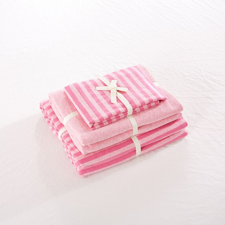 knitted cotton 4 piece bed sets pink stripe girls bedding sets full size 1.8m twin bed cover free shipping #Affiliate
