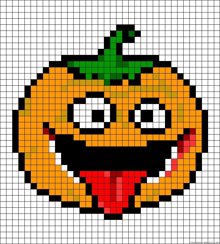 Halloween Pumpkin - Cool Perler Bead Patterns, http://hative.com/cool-perler-bead-patterns/,