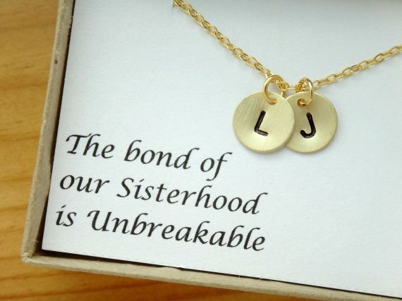 2 initial sister necklace gift-personalized gifts for best friends, sister gift for, simple necklace, gifts for sister, christmas gifts