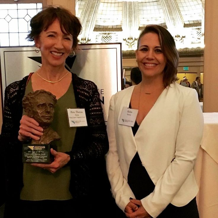 WSAJ Judge of the Year and King County Superior Court Judge, Theresa Doyle, with McNeice Wheeler attorney Robin Haynes.