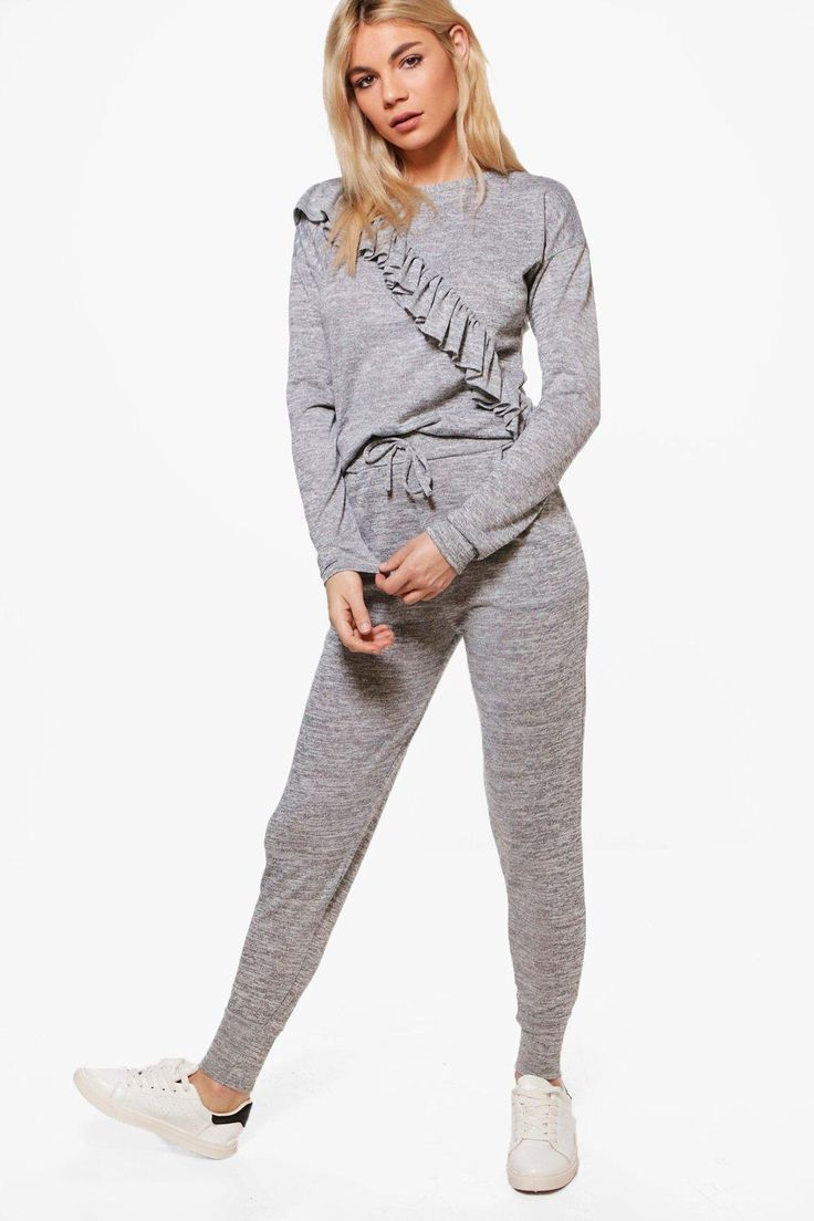 Esme Asymmetric Ruffle Knitted Loungewear Set