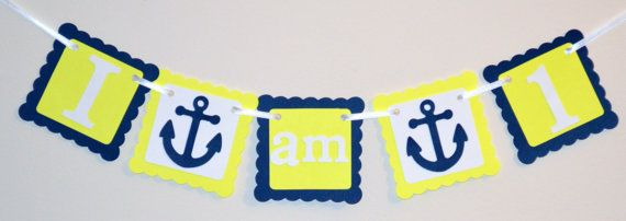 I am 1 High Chair Banner, Happy Birthday Banner, Anchor Theme, Nautical Birthday, Boy Birthday, First Birthday Banner on Etsy, $12.00