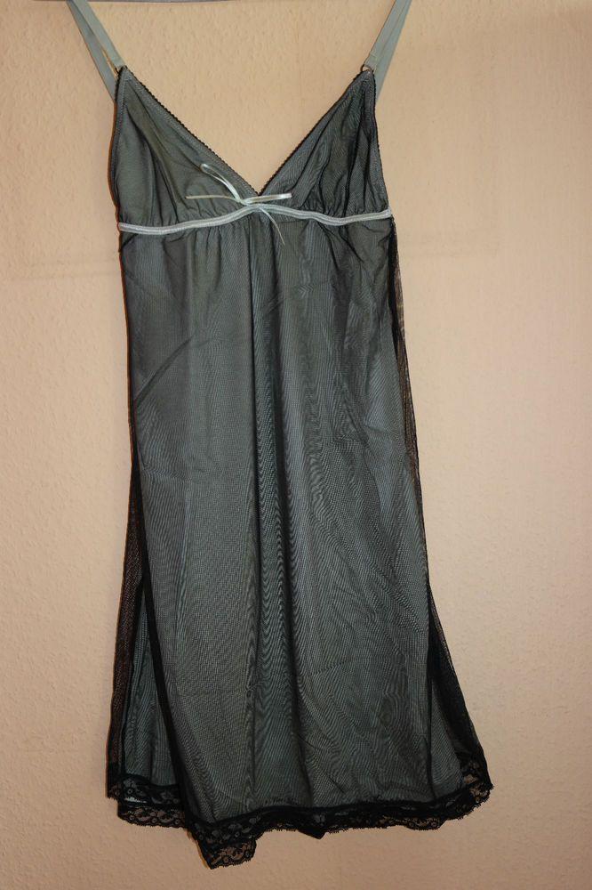 Damen Nachthemd, Sexy Nacht hemd , Grün / Schwarz , Neu Gr. M