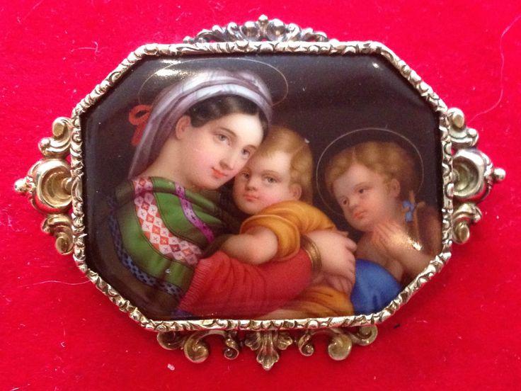 Madonna Della Sedia Handpainted on Porcelain After Raphael Antique Brooch 14ct | eBay