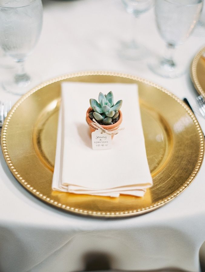 Adorable succulent wedding favors: http://www.stylemepretty.com/texas-weddings/houston/2015/12/10/classic-villa-inspired-wedding-at-the-bell-tower-on-34th/ | Photography: Becca Lea - http://beccalea.com/