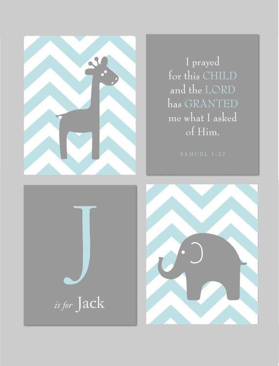 I prayed for this Child Religious Nursery Scripture Art 1 Samuel 1 27 Blue and Gray Nursery Elephant Nursery Giraffe by karimachal