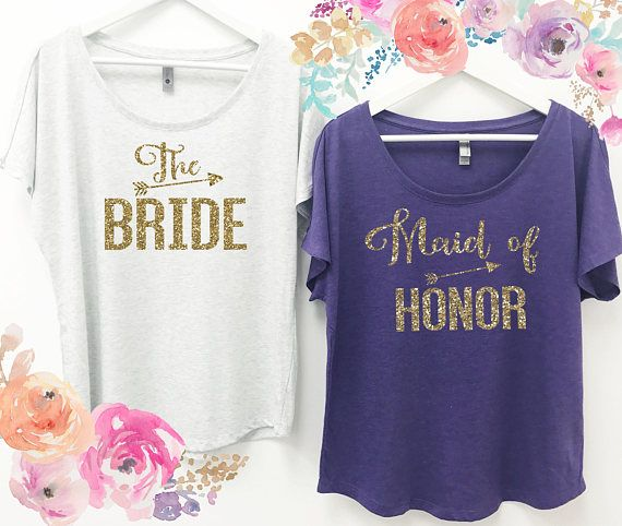 Gold Maid of Honor Womens Slouchy T-Shirt Wedding Bridal Bachelorette Bridesmaid