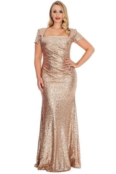 Bling Sequins Golden Women Evening Dresses Square Neck Short Sleeves Sheath Long Champagne Plus Size Special Occasion Dresses