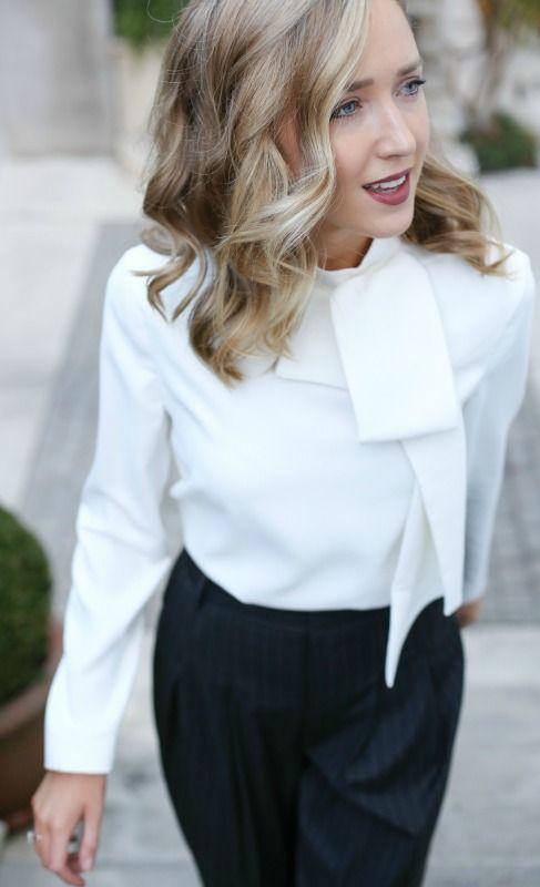 tie neck bow blouse, pinstripe wide leg pleated trouser pants, nars deep red lip, modern everlane black loafers  |  work wear, office style