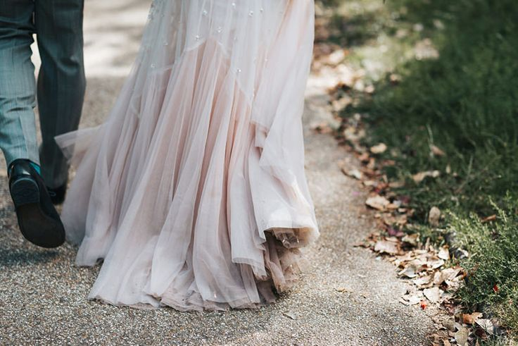 Pink tulle sequin embellished wedding dress by needle and thread by natural wedding photographer, Miss Gen