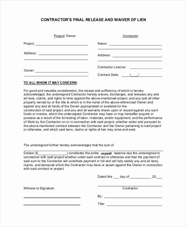 Lien Waiver Form Template Luxury 21 Print Release Form Examples Form Example Templates Survey Template