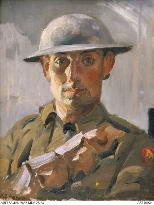 Portrait of an unidentified soldier, wearing tin (protective) helmet, tunic and bandolier across chest, 'A' badge (Anzac) on colour patch. France 1918 by H Septimus Power
