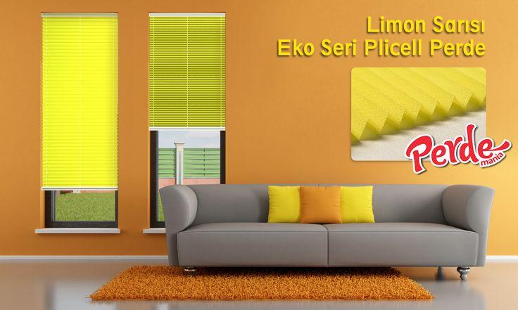 Limon Sarısı Eko Seri Cam Balkon Perdesi  Eko seri olan cam balkon perdeleri düz renkleri içerir ve ışığı içeriye soft ve homojen dağıtan yapıdadır. Balkonlar için alternatifi olmayan bir perde türü olan plise perdeler katlanır cam balkonlar için özel üretilmiştir ve katlanmış görüntüsü ile balkon camlarınızda görsel bir şölen sunarken, alev almaz ve kir tutmaz kumaş özelliği ile büyük kolaylıklar sağlar.  #limon #sarı #plicell #perde