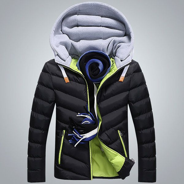 Winter Fashion Casual Thicken Warm Zipper Side Pockets Hooded Jacket for Men