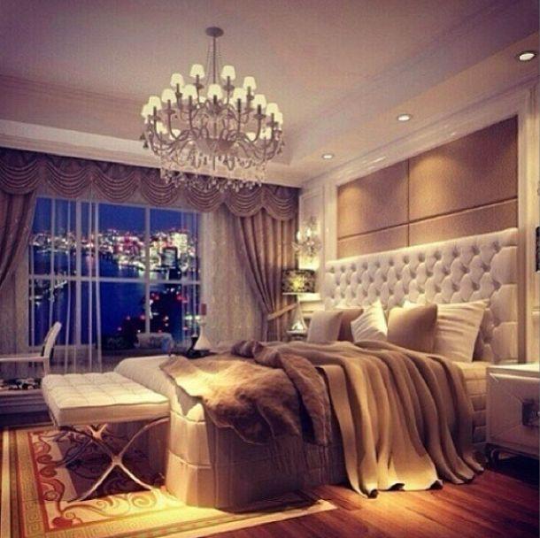 Luxurious bedroom in grays neutrals