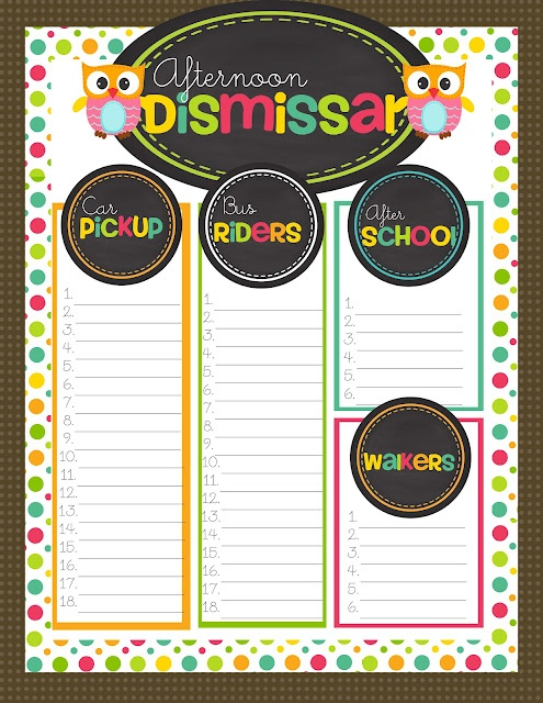 afternoon dismissal chart perfect freebie for teachers