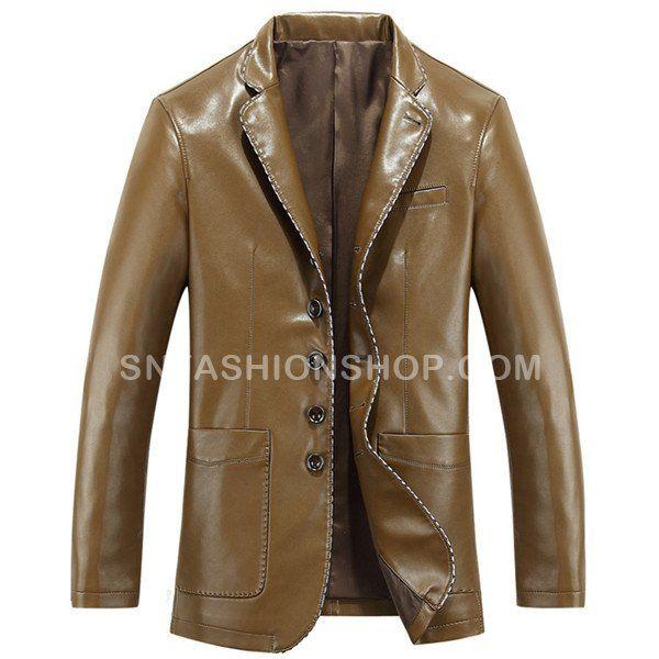 2017 Dark Yellow PU Leather Coat Jacket for Men Sale