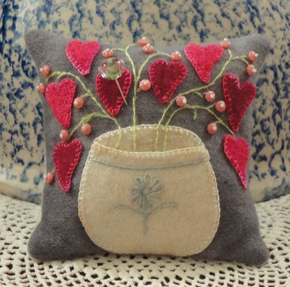 Cute wool applique pincushion