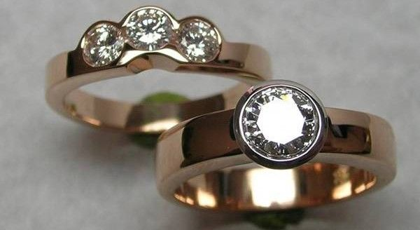 Rose gold diamond engagement and fitted wedding ring