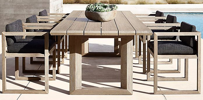 Paloma Teak Dining Collection Weathered Grey Teak Rh Modern Teak Outdoor Furniture Teak Outdoor Outdoor Dining