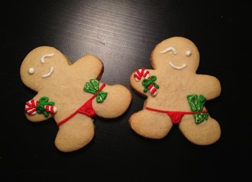 Hysterical!!! I don't think anything like this will make it into my Christmas cookie tins this year, but too cute and funny not to repin! (Naughty Gingerbread Men Hand Decorated by YouandMeConfections, $18.00)