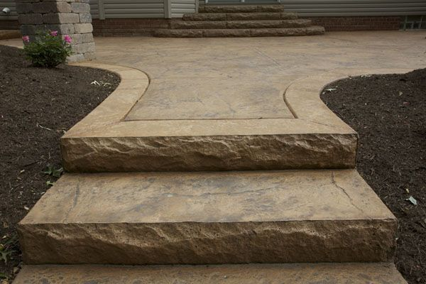 Stamped Concrete Front Steps | decorative concrete cut stone steps decorative pool deck with lounge ...