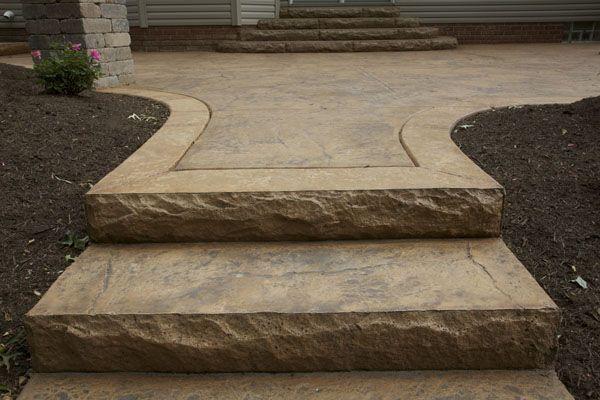 Exterior: Stamped Concrete Granite Simulation With Border