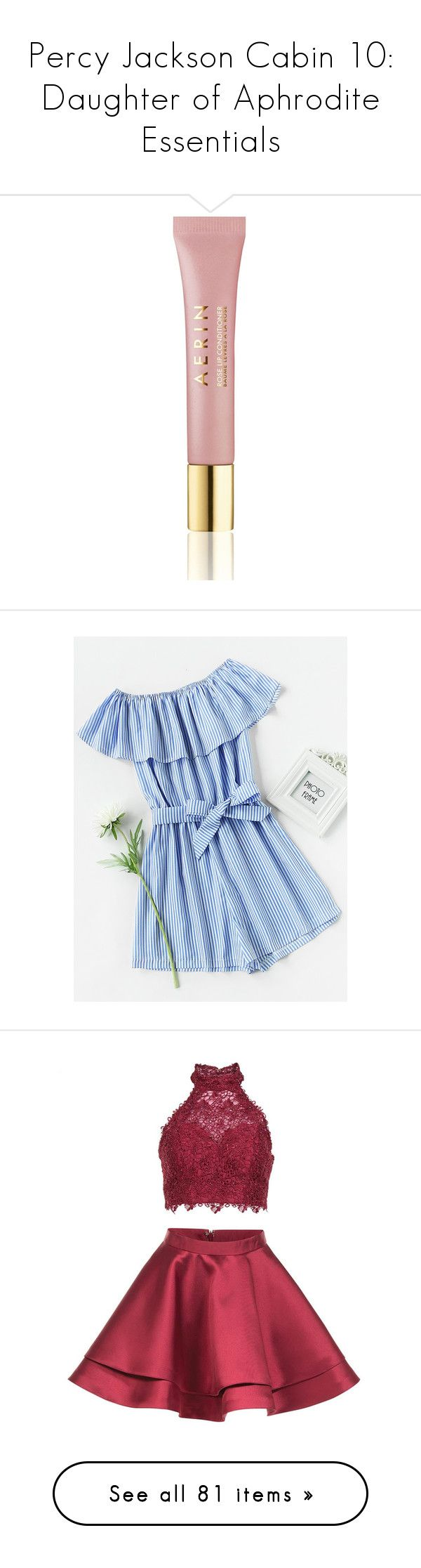 """""""Percy Jackson Cabin 10: Daughter of Aphrodite Essentials"""" by camemckeith on Polyvore featuring beauty products, skincare, lip care, lip treatments, makeup, jumpsuits, rompers, blue, striped romper and blue romper"""