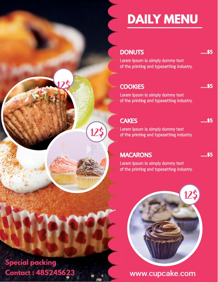 Bakery And Deli Menu Price List Template Pink