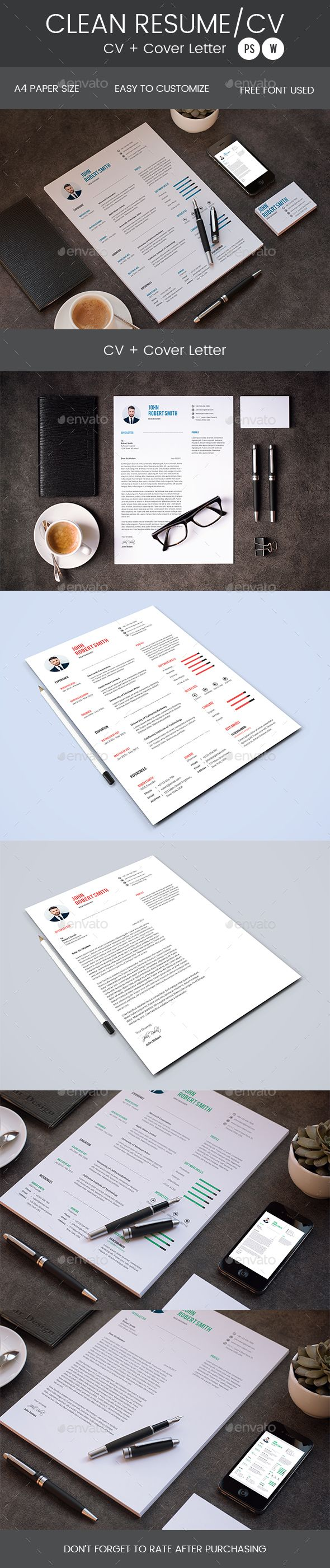 Clean Resume & Cover Letter Template PSD, MS Word