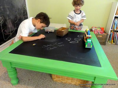 Old coffee table plus bright colored paint plus chalkboard paint= cute chalkboard table for a kids' room! :)