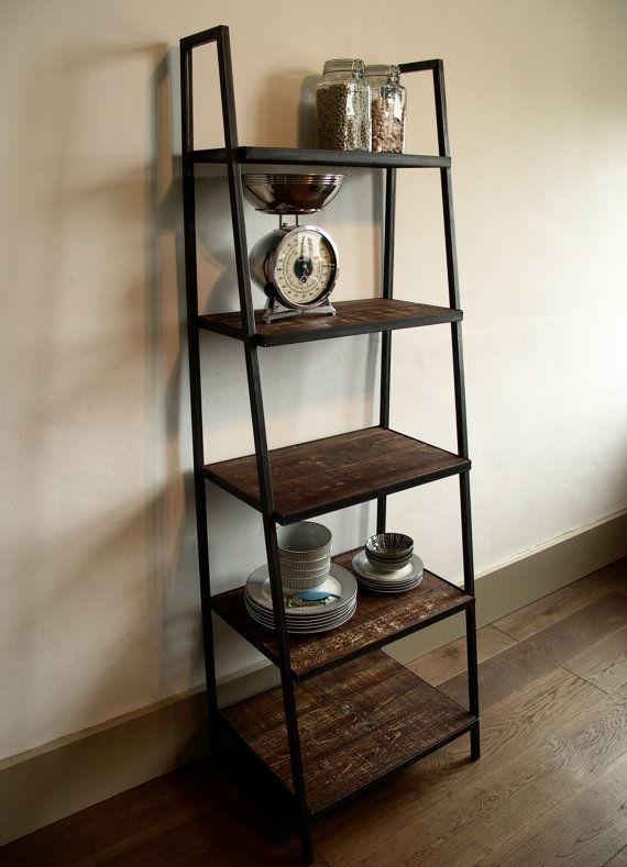 Industrial Style Ladder Shelving Unit dark distressed