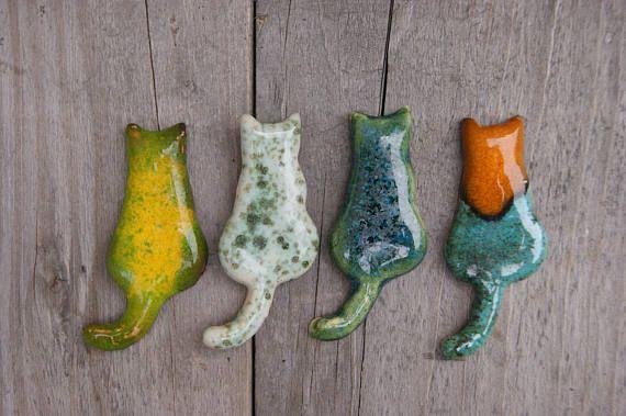 Lovely cat brooch, cat pin, ceramic brooch, cute brooches, Yellow cat, Green cat, Sea green cat, Orange cat, ceramic cat, Feline brooches, cat cafe