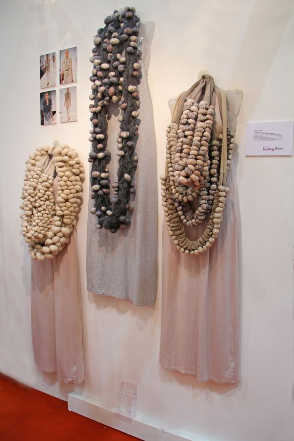 Sally Chown. Repetitive shapes textures through hand manipulated machine knitted and crocheted fabric.