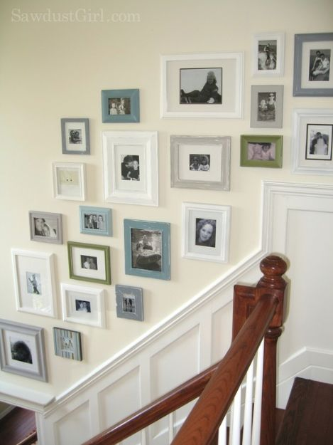 Picture Frame Gallery Wall at www.sawdustgirl.com