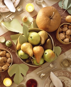Love the muted colors of fall for a change.: Idea, Color Schemes, Harvest Tables, Thanksgiving Centerpieces, Fall Tables, Autumn Harvest, Martha Stewart, Pears, Thanksgiving Tables Sets