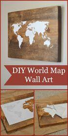 DIY World Map Wall Art Tutorial. I know what I'm doing tomorrow.