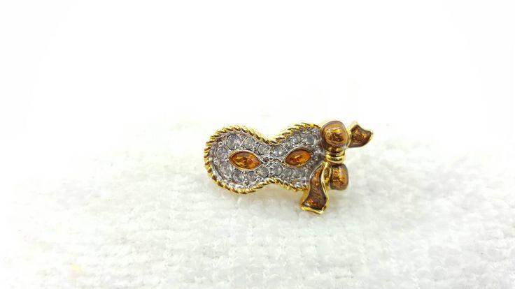 Swarvoski Mask Brooch Pin Back Sparkling crystals Mascarade Dress up Phantom