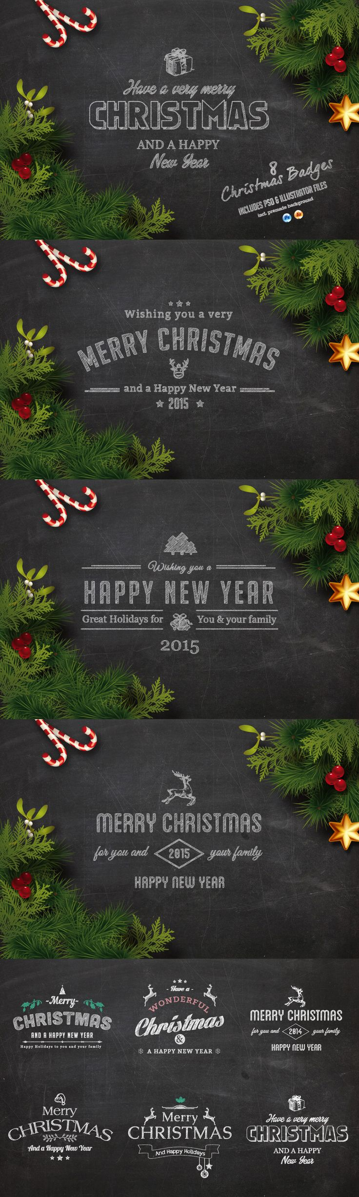 Christmas Chalk Badges + Background Template #design Download: https://creativemarket.com/Imagearea/107916-Christmas-Chalk-Badges-Background?u=ksioks