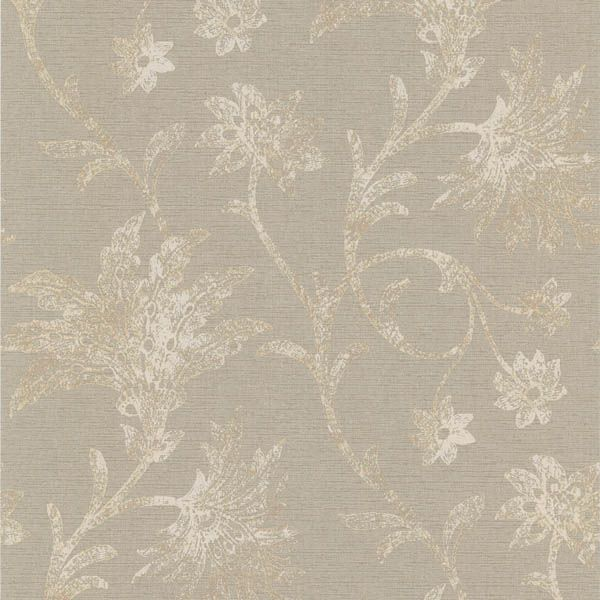301-66935 Grey Floral Trail - Jasmine - Kenneth James Wallpaper