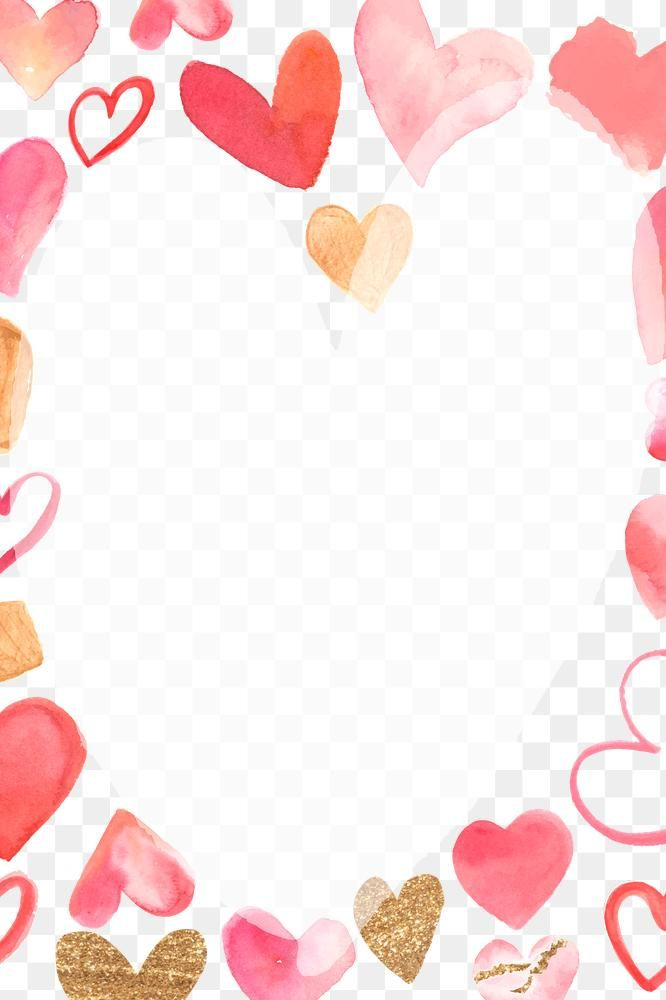 Valentine S Day Frame Png With Watercolor Hearts Free Image By Rawpixel Com Namcha In 2021 Watercolor Heart Valentine Background Valentines