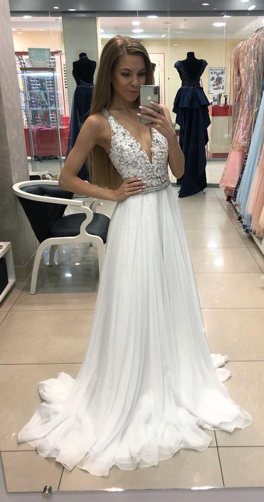 7b86145f21a White v neck chiffon lace long prom dress